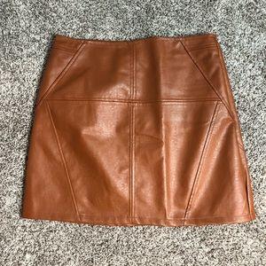 Tan leather skirt